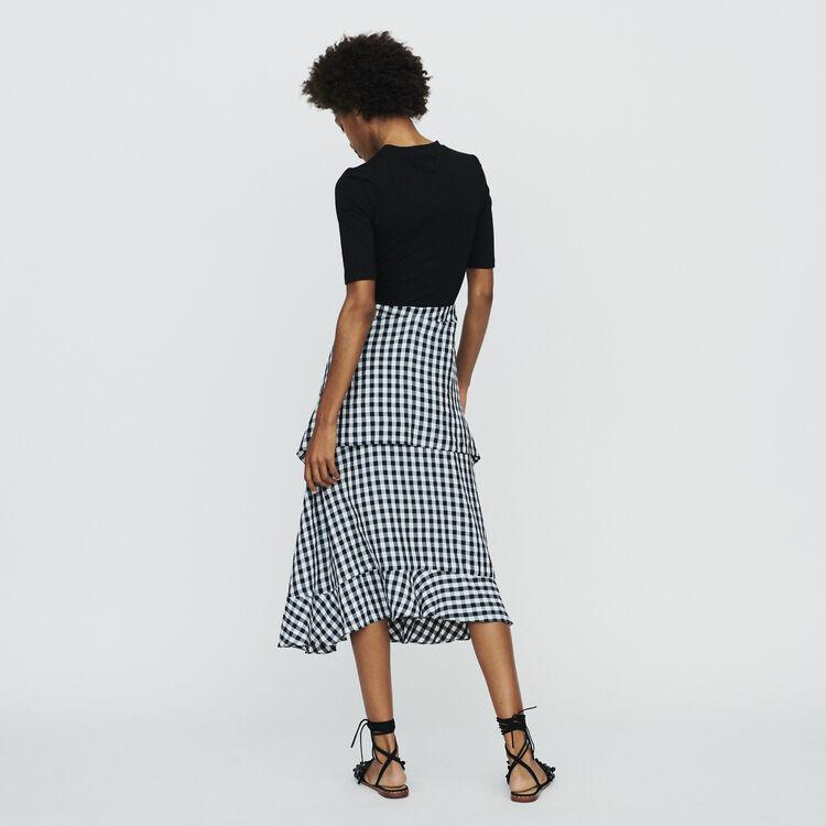 Halblanges Kleid aus zwei Materialien : Kleider farbe CARREAUX