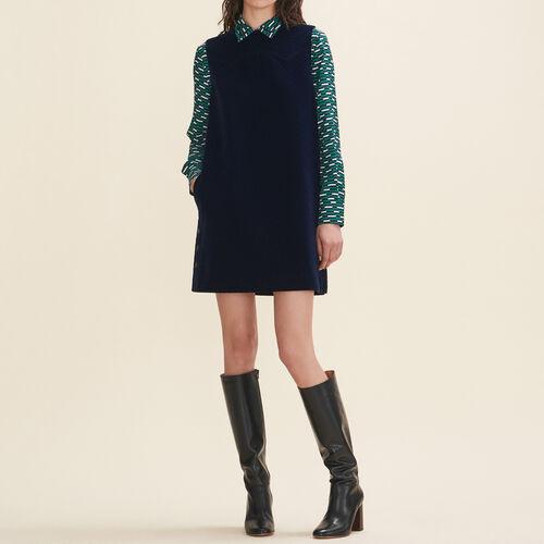 Trapezkleid aus Samt : Robes farbe Marineblau