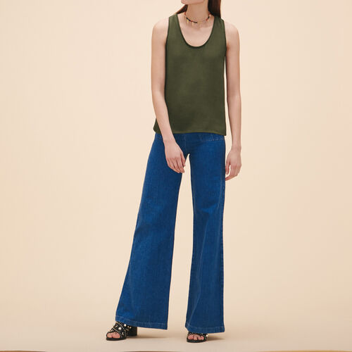Ärmelloses T-Shirt aus Crêpe : Tops farbe Khaki