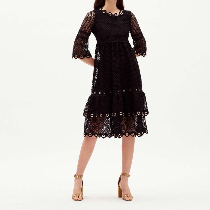 Langes Guipure-Kleid : Kleider farbe Schwarz