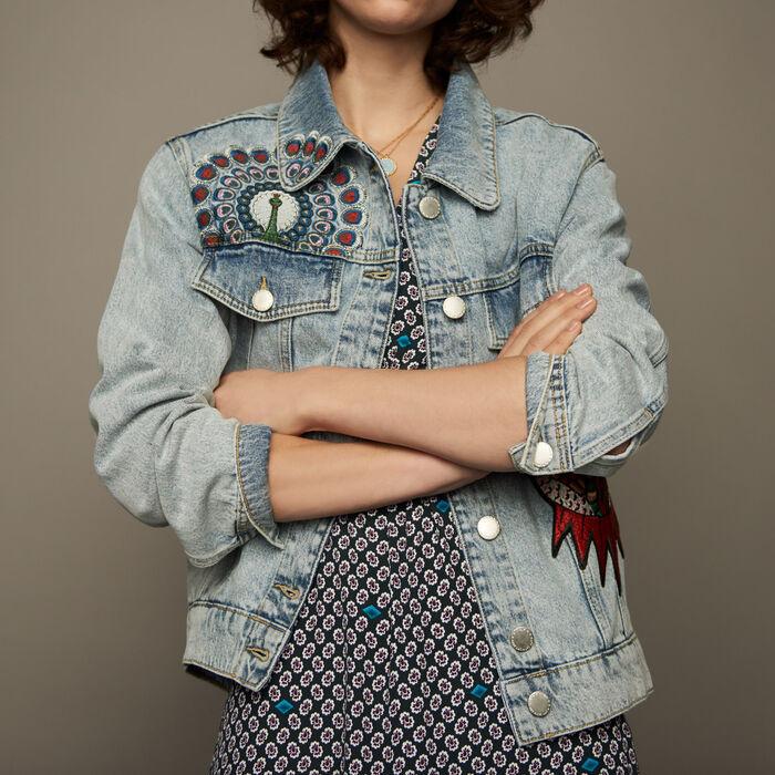 Jeansjacke mit Stickereien : Jacken farbe Denim