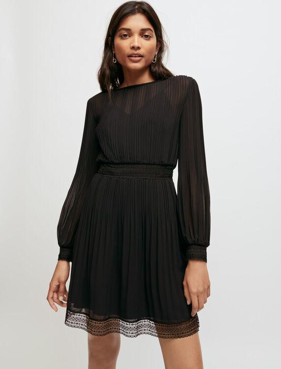 Gesmoktes Kleid aus Musselin und Spitze - Kurze kleider - MAJE