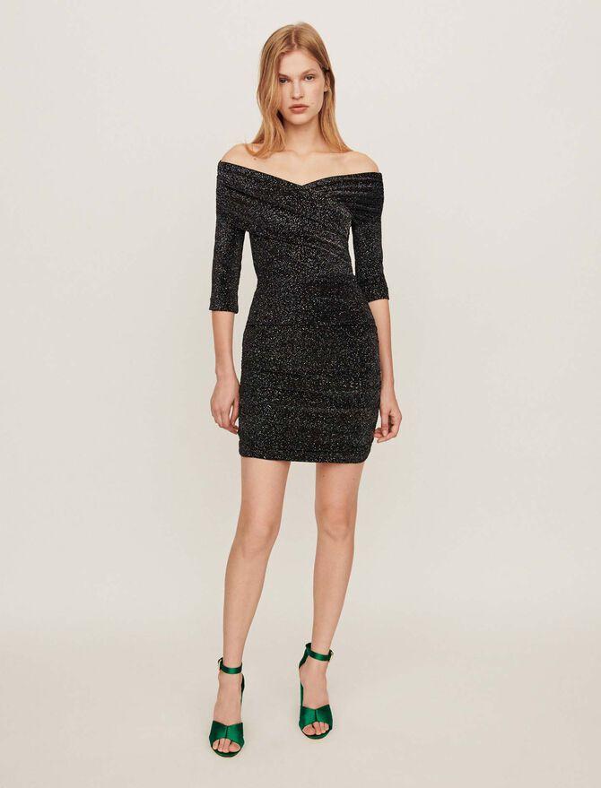 Drapiertes Stretch Kleid mit Lurex - Kleider - MAJE