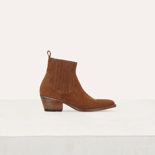 Wildleder Stiefelletten im Westernlook : Stiefel & Boots farbe Camel