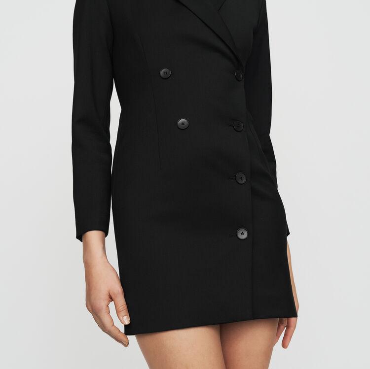 Jackenkleid aus Mischwolle : Kleider farbe Schwarz