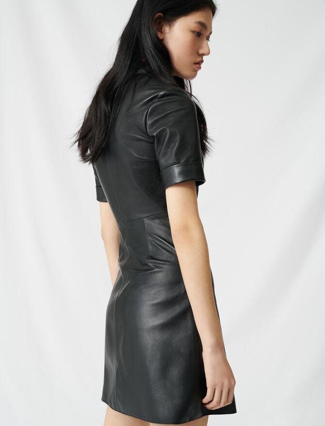 Geknöpftes Hemdkleid aus Leder - Kleider - MAJE