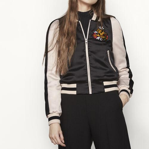 Blouson im Teddy-Stil aus Satin : Jacken und Blousons farbe Schwarz