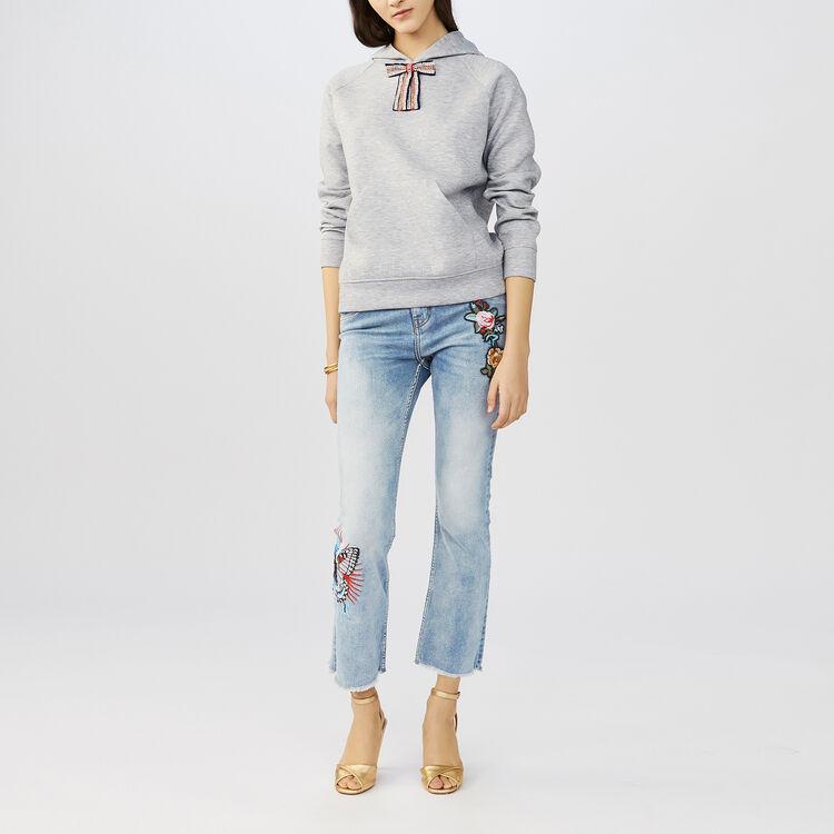 Sweatshirt mit abnehmbarer Schleife : Strickwaren farbe Grau