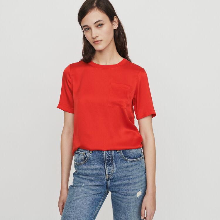 T-Shirt aus zwei Materialien : T-Shirts farbe Rot