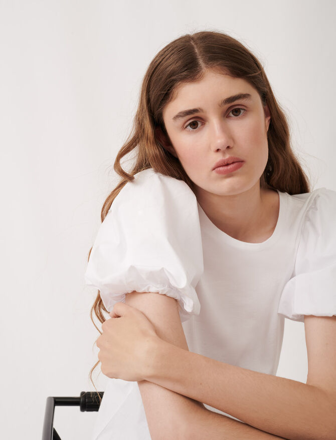 Weißes T-Shirt aus Materialmix - Umweltfreundliche - MAJE