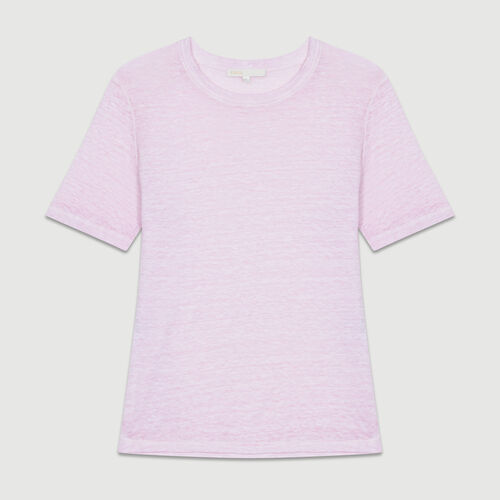 Loose Leinentop : T-Shirts farbe LILAS