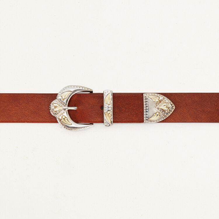 Ledergürtel mit Doppelschnalle : Gürtel farbe Camel