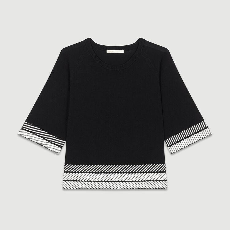 Ajour-Pullover mit edlen Details : Strickwaren farbe Schwarz