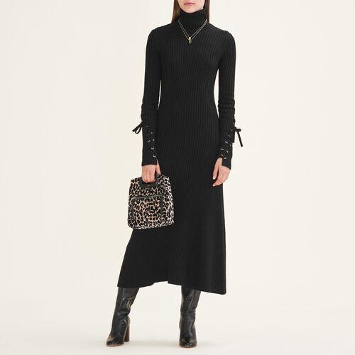 Langes Schlauchkleid aus Strick : Kleider farbe Schwarz