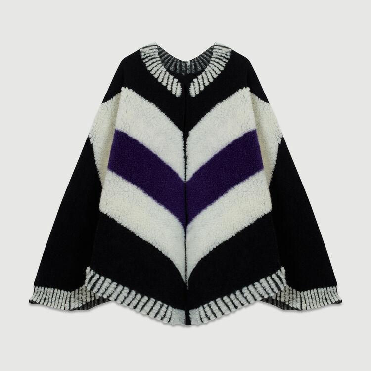 Poncho aus Schafsfell : Schals & Ponchos farbe Schwarz
