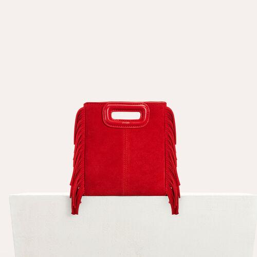 Mini-M-Tasche aus Wildleder : Leder farbe Rot