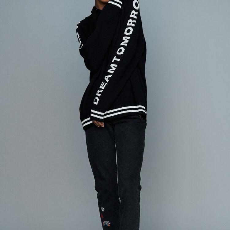 Oversize-Pullover mit Kapuze : Bekleidung farbe Schwarz