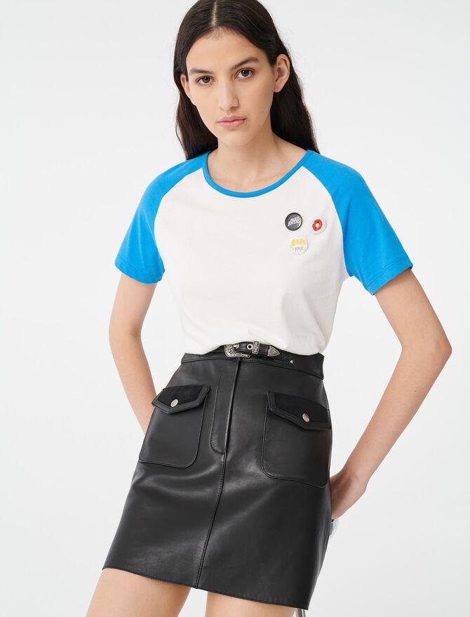T-Shirt mit Ärmeln in Kontrastfarbe - T-Shirts - MAJE