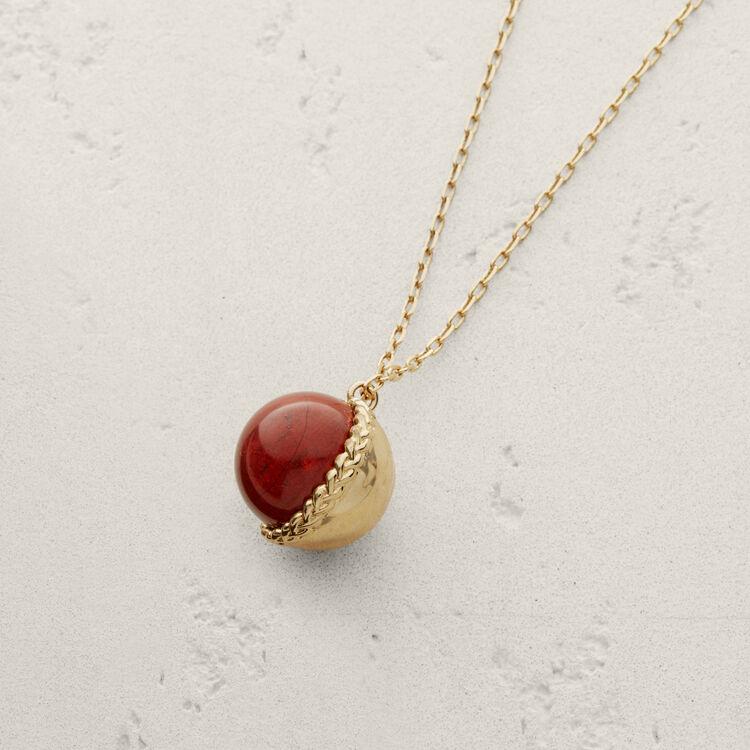 Halskette mit Natursteinkugel : Schmuck farbe Rot