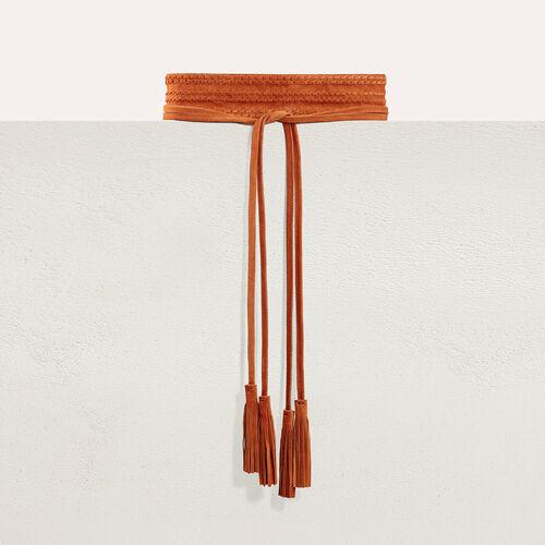Breiter Wildledergürtel zum Knoten : Accessoires farbe Camel