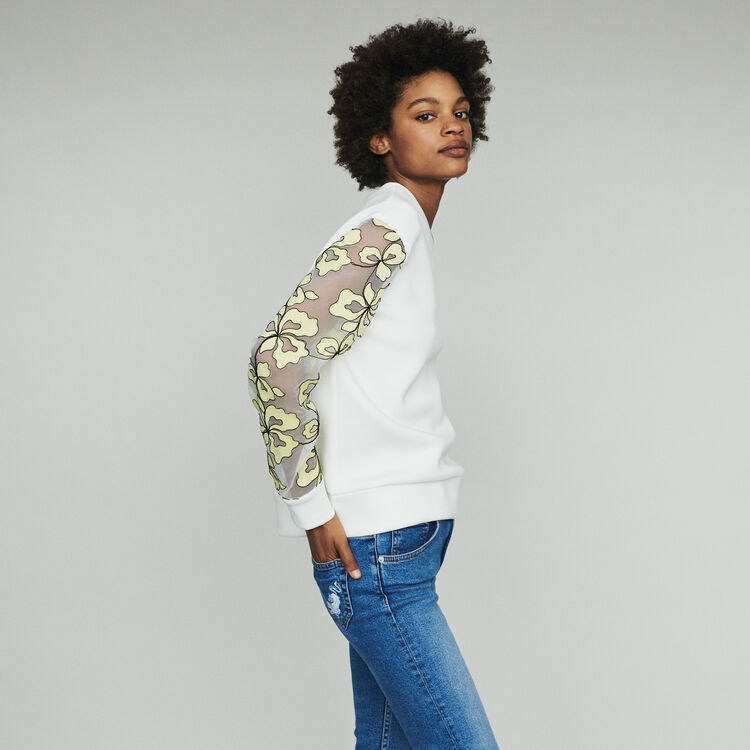 Sweatshirt mit Details aus Organza : Pullover & Strickjacken farbe Weiss