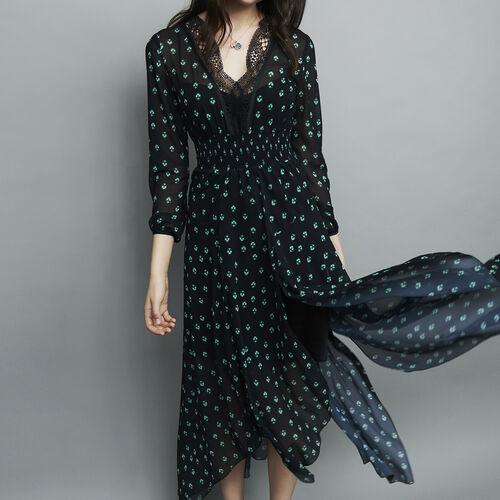 Zweifarbiges Plissee-Kleid : Kleider farbe IMPRIME