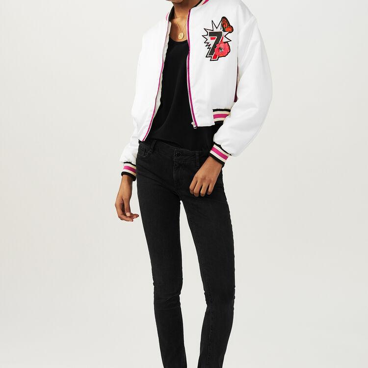 Kurze Jacke mit Stickerei : Jacken farbe Weiss