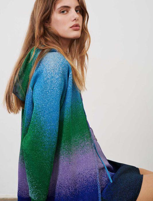 Strickcardigan mit Kapuze und Lurex : Pullover & Strickjacken farbe Bleu/Vert/Violet