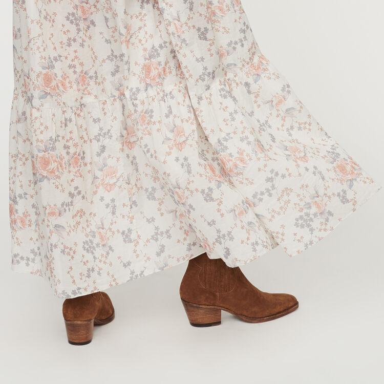 Langes Florales Kleid mit Volants : Kleider farbe Rosa