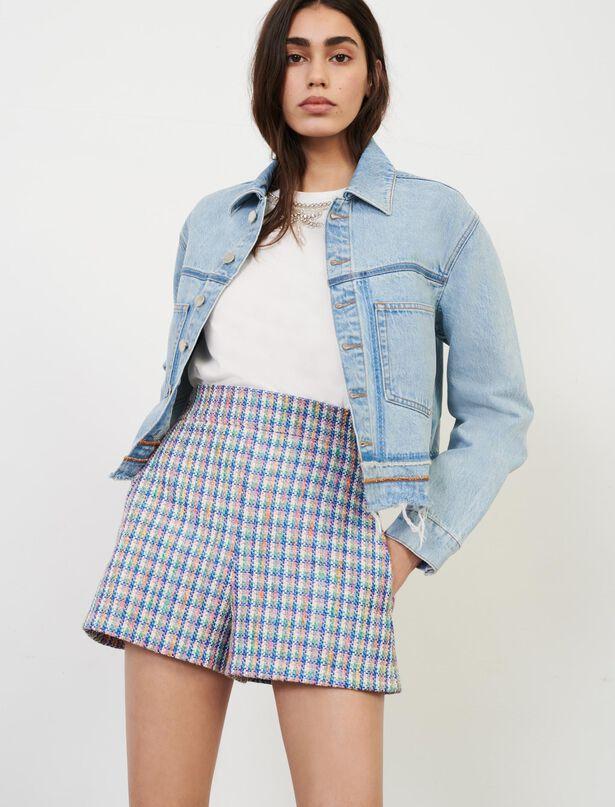 마쥬 반바지 MAJE Shorts im Tweed-Look,Mehrfarbigen