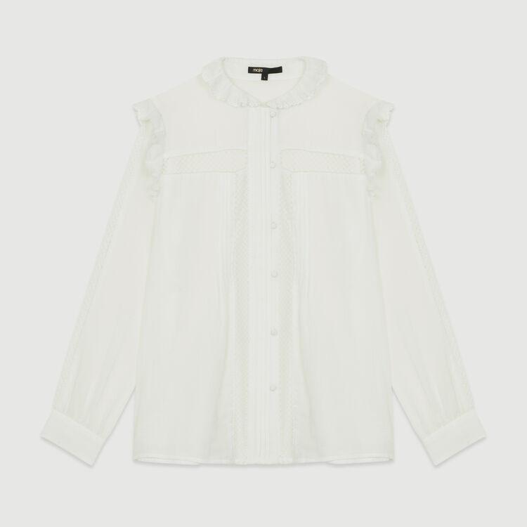 Baumwollbluse mit Spitze : Hemden farbe Weiss