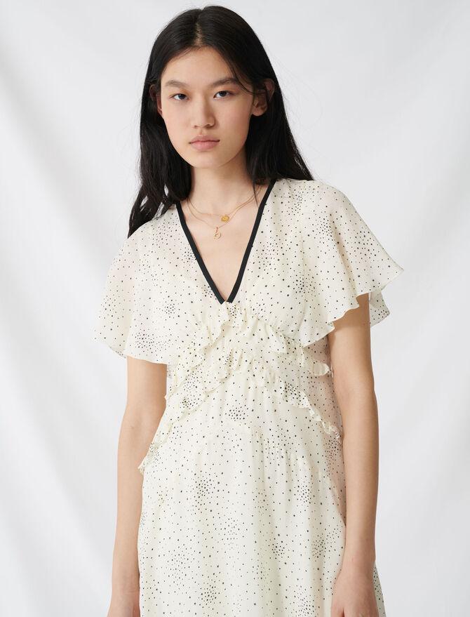 Langes Kleid mit Volant und V-Ausschnitt - Kleider - MAJE