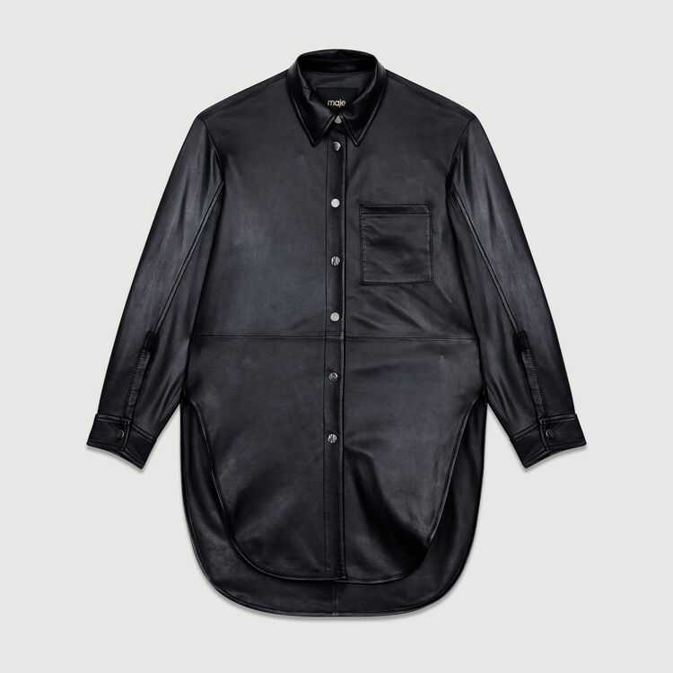 Langes Lederhemd : Leder farbe SCHWARZ