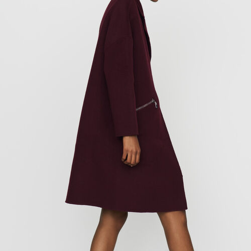 Doppelseitiger Wollmantel : Weinrot farbe Khaki