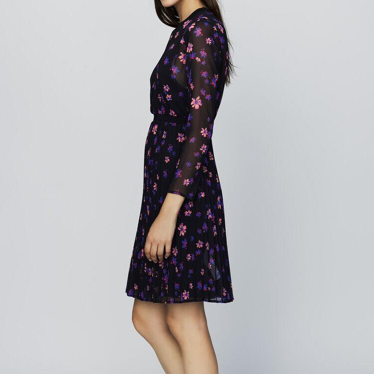 Bedrucktes Kleid mit Plissee-Unterrock : Kleider farbe IMPRIME