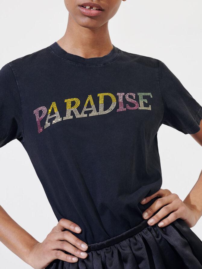 """T-Shirt """"Paradise"""" mit Strass - T-Shirts - MAJE"""