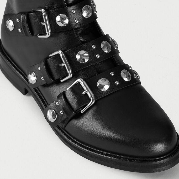 Flache Leder-Stiefelletten mit Nieten : Stiefel & Boots farbe Schwarz