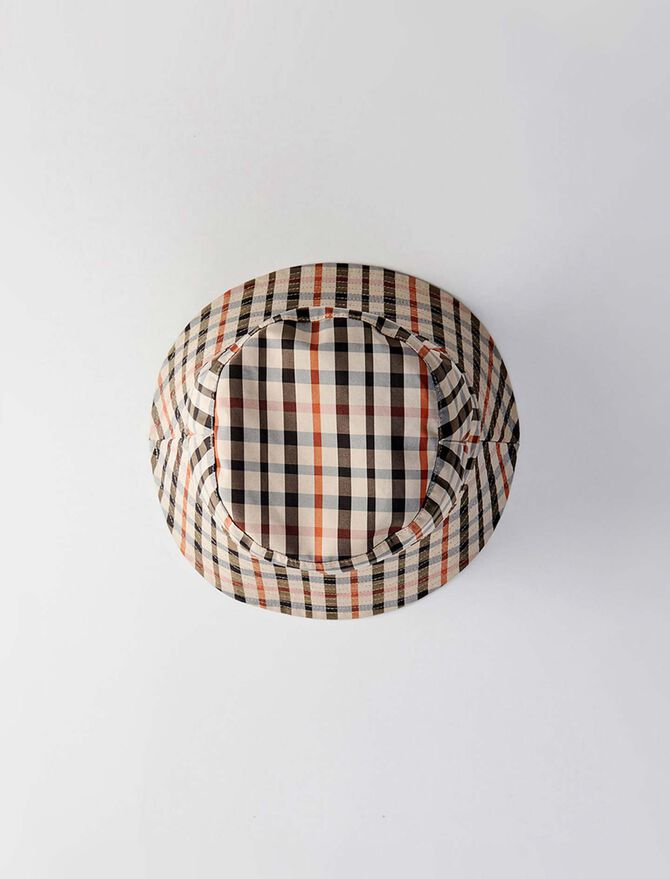 Reversible cotton bob with plaid pattern - Mützen und bobs - MAJE
