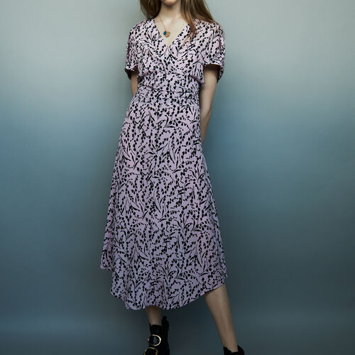 Langes bedrucktes Seidenkleid : Kleider farbe IMPRIME