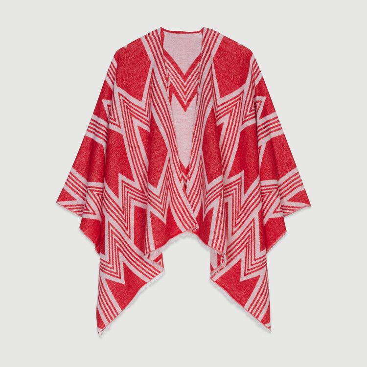 Poncho mit Art Deko Print : Schals & Ponchos farbe Rot