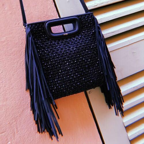 Raffia bag with fringes : M Tasche farbe Schwarz