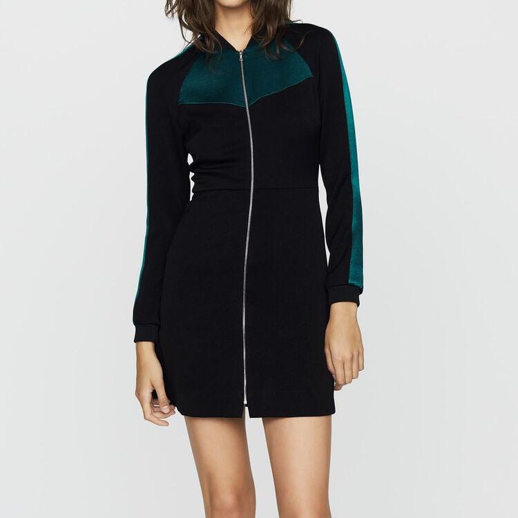 Zweifarbiges Teddy-Kleid : Kleider farbe Schwarz