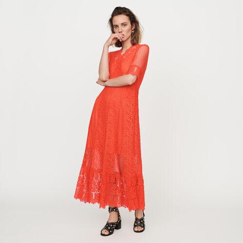 Langes Plumetis Kleid und Spitzen : Kleider farbe Koralle