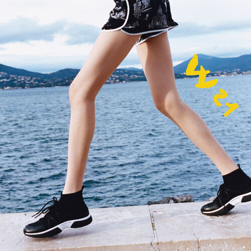 Hohe Sneaker aus Stretchwolle : Sneakers farbe Schwarz