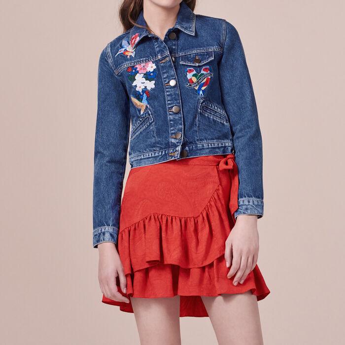 Blouson aus Jeans mit Stickereien -  - MAJE