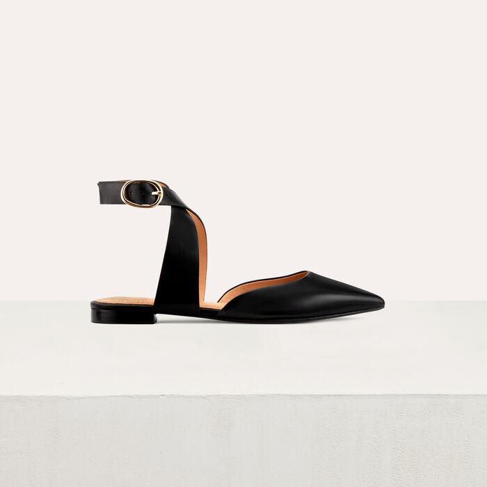 Flache Pumps im Pantoletten-Stil : Flache Schuhe farbe Schwarz