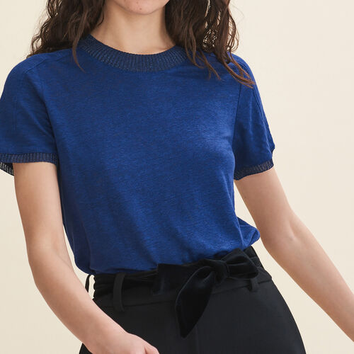 T-Shirt aus Leinen : T-shirts farbe Marineblau
