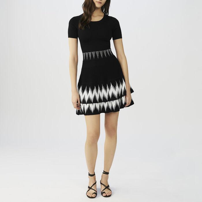 Volant-Strickkleid : Kleider farbe Schwarz