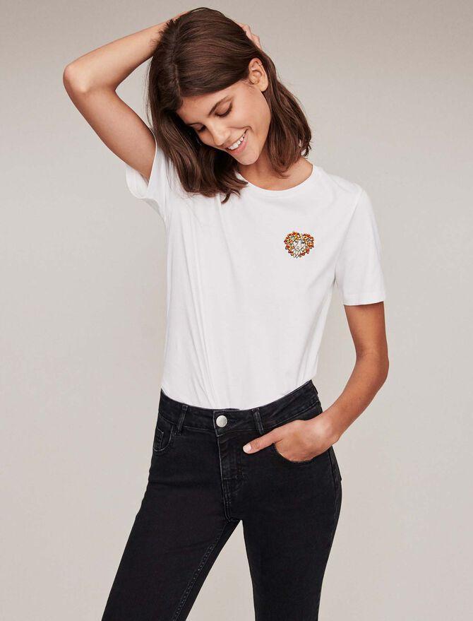 Besticktes Baumwoll T-Shirt mit Strass -  - MAJE