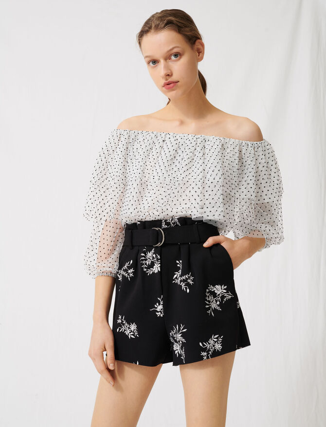 Shorts aus besticktem Krepp mit Gürtel - Röcke & Shorts - MAJE